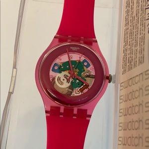 Pink Swatch Watch with Clear Face (Gently Used)